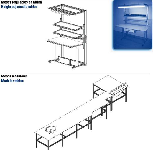 Fasten - Mesas regulables en altura y Mesas modulares