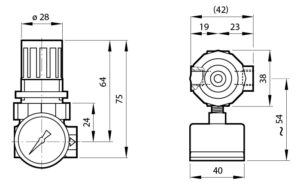 R07 - Reguladores de presion - Dimensiones - Norgren